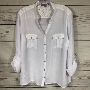 NY Collection Long Sleeve Gauze w/Lace Details XL